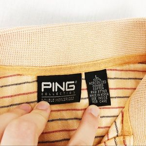 Ping Shirts - 🛍PING Orange Striped Short Sleeve Polo Large